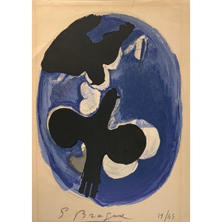 "Georges Braque, ""Deux Oiseaux Sur Fond Bleu"" - 1955 Color Lithograph - Signed Edition For Sale"