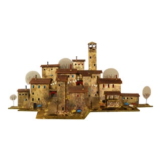 """Mid 20th Century Curtis Jere Village """"Washday in Capri"""" Brass Wall Sculpture For Sale"""