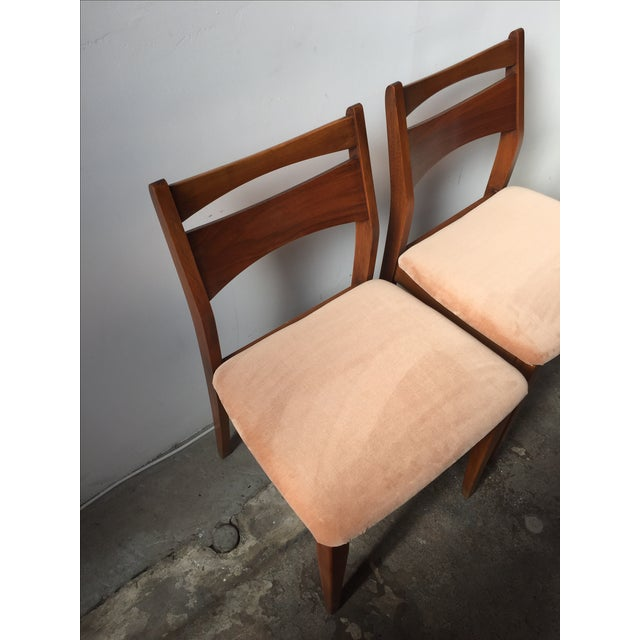 Mid-Century Velvet & Walnut Dining Chairs - Set of 4 - Image 5 of 10