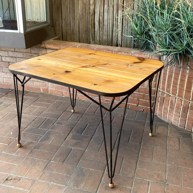 Brown 1950s Mid-Century Modern Solid Wood & Hairpin Iron Leg Table For Sale - Image 8 of 8