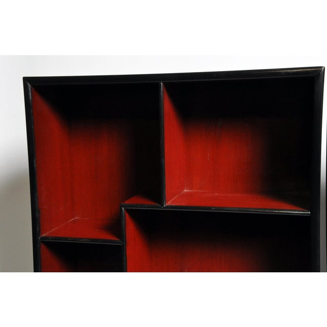 Red Pair of Chinese Scholar's Display Cabinet For Sale - Image 8 of 13