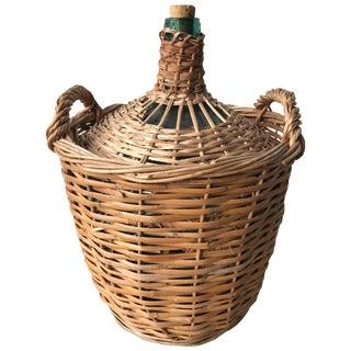 Midcentury French Wicker Demijohn Bottle Basket For Sale