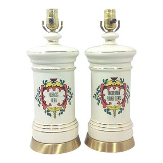Ceramic Apothecary Table Lamps-A Pair