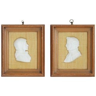 Pair of Alabaster Profile Portraits of Dante For Sale