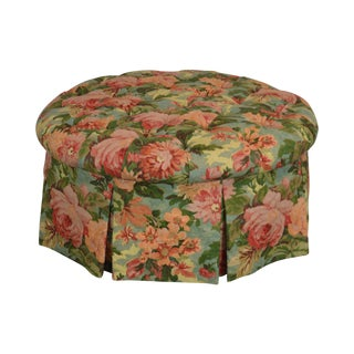 Custom Floral Upholstered Round Tufted Ottoman For Sale