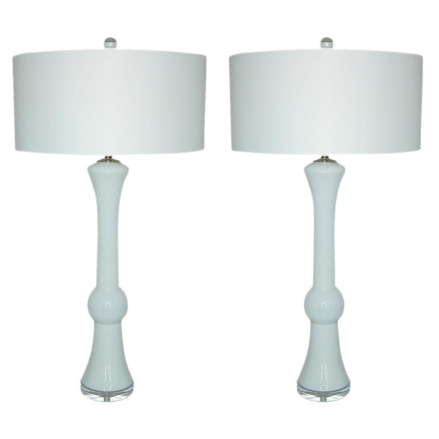 Vintage Murano Glass Table Lamps White For Sale