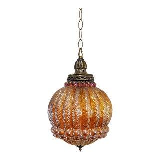 Vintage Carnival Glass Pendant Light Fixture