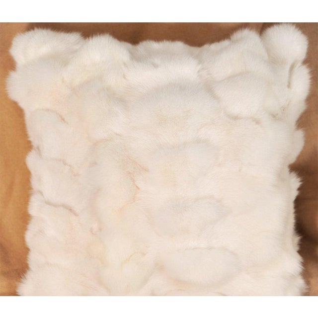 Traditional White Fox Fur Pillow with White Leather Back For Sale - Image 3 of 4