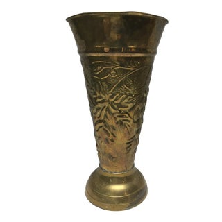 Mid 20th Century Flared Brass Vase For Sale