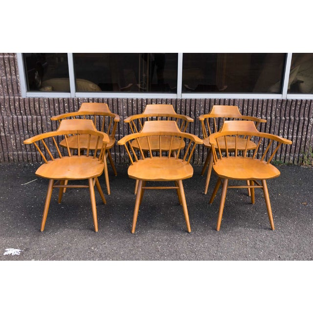 Wood Walnut Captain Chairs by George Nakashima- Set of 6 For Sale - Image 7 of 7