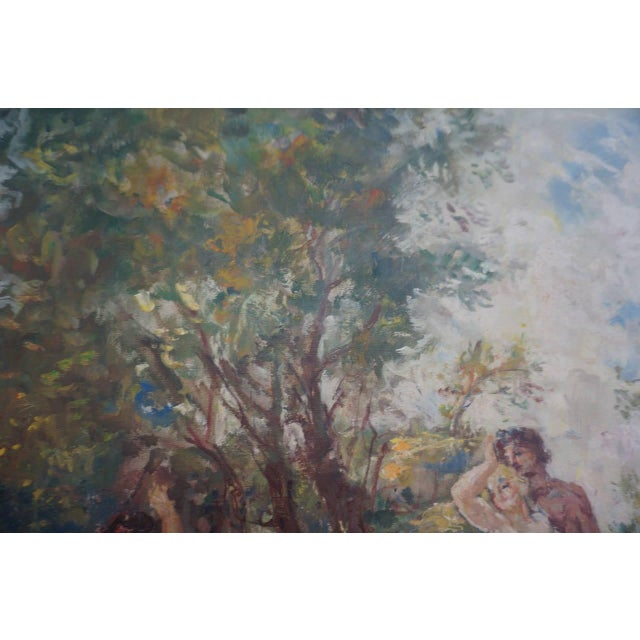 """The Garden"" Oil on Canvas: Herman Lipot, Hungary, 20th Century For Sale - Image 10 of 10"