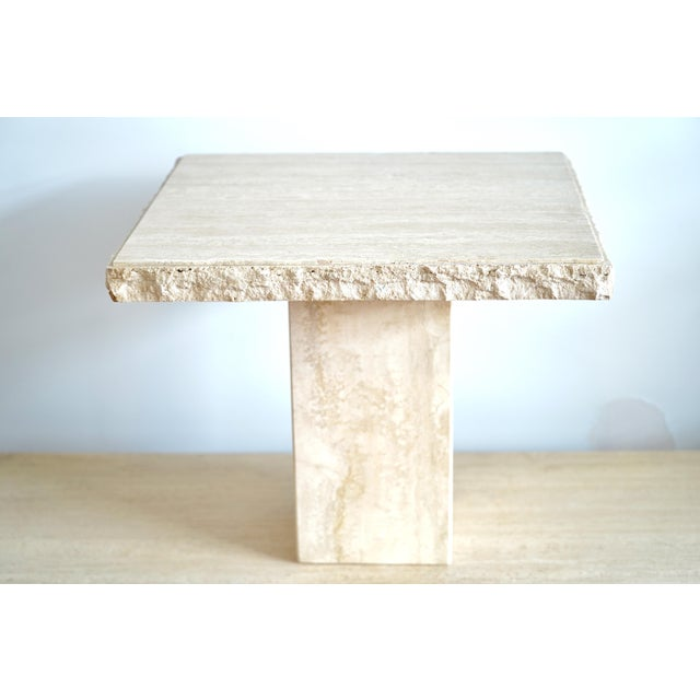 Maurice Villency 1970s Italian Maurice Villency Travertine Marble Side Table For Sale - Image 4 of 6
