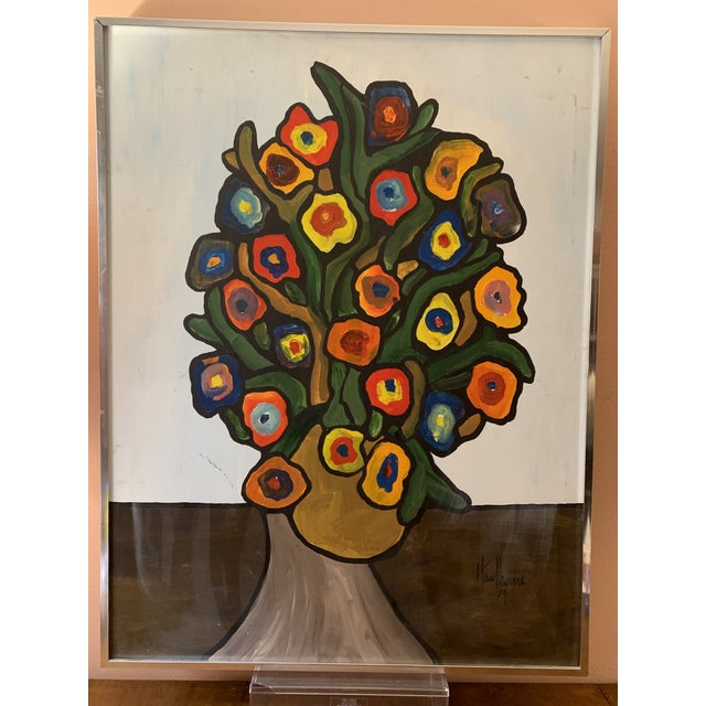 Vintage 1970's Abstract Original Flowers Oil Painting Signed Hawthorne For Sale - Image 10 of 10