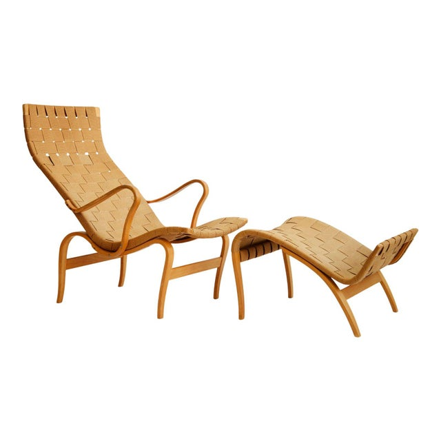 Tan 1940's Bruno Mathsson Pernilla Lounge Chair and Ottoman For Sale - Image 8 of 8