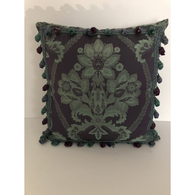 2010s Vintage Damask Pillow For Sale - Image 5 of 5