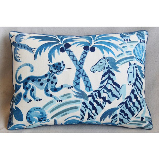 """Reversible custom-tailored pillow in blue and white cotton fabric called """"Wilderness Persian Blue"""" from P. Kaufmann..."""