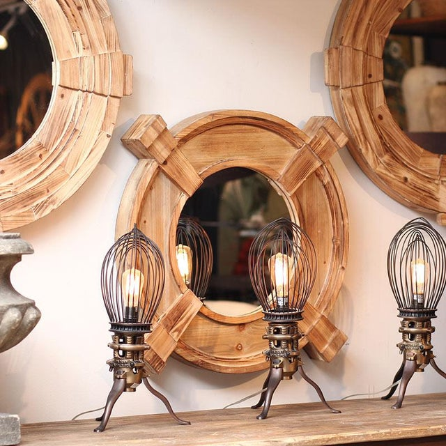 Cabin Rustic Wood Framed Round Inman Mirror For Sale - Image 3 of 4
