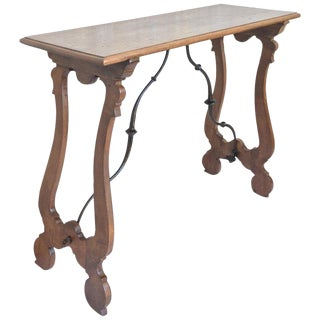 19th Spanish Console Table With Iron Stretcher & Turned legs.Side Table. Baroque For Sale