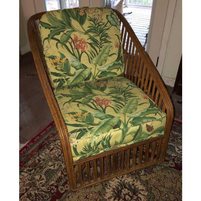 Boho Chic Vintage Bamboo With Waverly Fabric Club Chair For Sale - Image 3 of 7