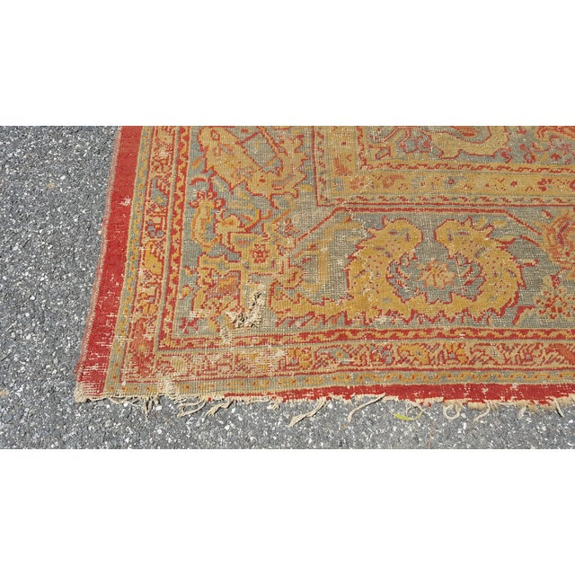 Textile Early 19th Century Antique Turkish Oushak Rug - 9′6″ × 13′4″ For Sale - Image 7 of 12