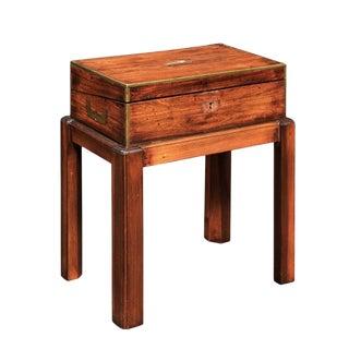 English Campaign Mahogany Lap Desk Decorative Box on Custom Stand, circa 1860