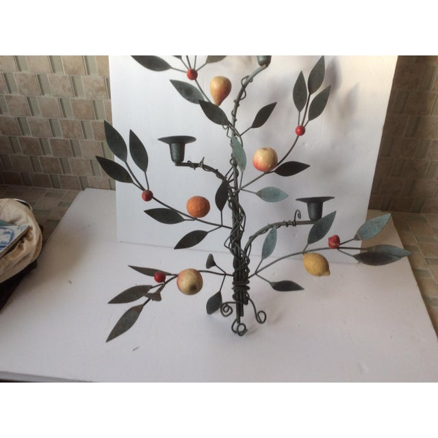 Painted Tole Candle Wall Sconce With Fruits - Image 3 of 11