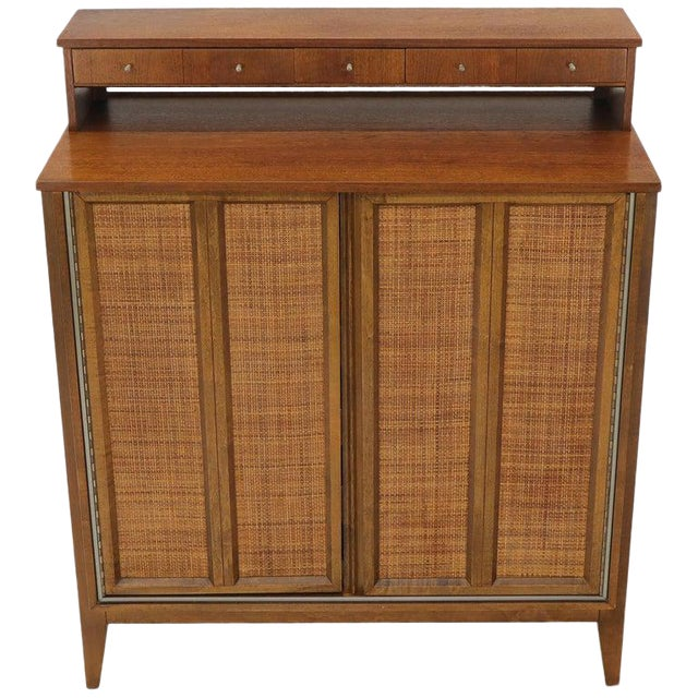 Mid-Century Modern High Chest Dresser With Separate Jewelry Compartment on Top For Sale