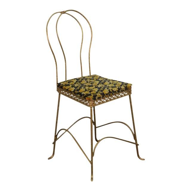 Antique Gilt Metal Faux Bois Aesthetic Side Chair For Sale