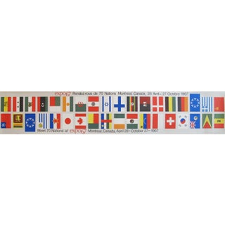 1967 Vintage Montreal Expo 67 Banners, Meet 70 Nations (Flags)