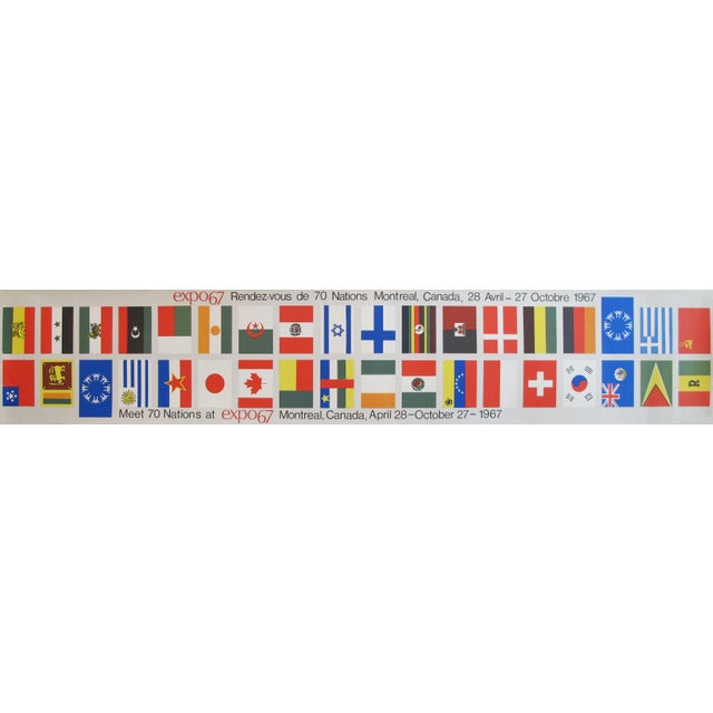 1967 Vintage Montreal Expo 67 Banners, Meet 70 Nations (Flags) For Sale