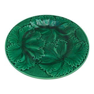 French Antique Majolica Green Leaves Cake Stand, Compote by Clairefontaine, C.1890 For Sale