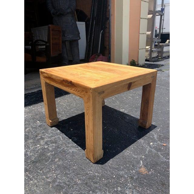 Ming Natural Elm Side Table For Sale - Image 4 of 6