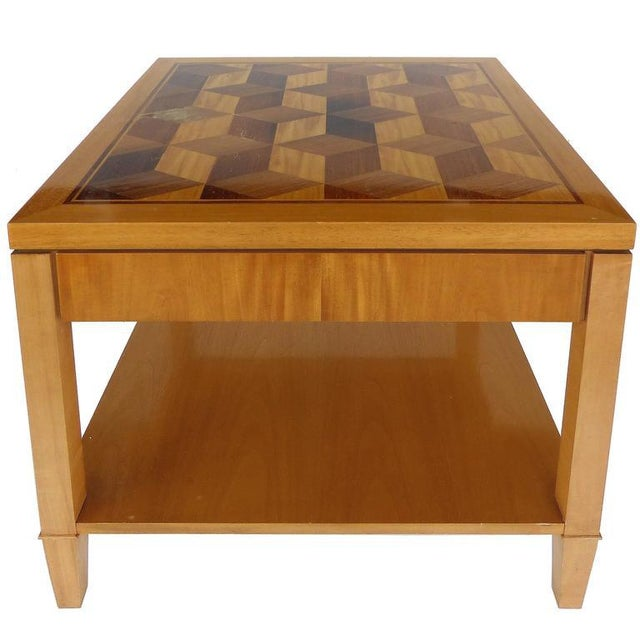 Mid-Century Baker Inlaid Geometric Design Side Table For Sale - Image 10 of 10