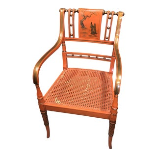1980s Vintage Orange Asian Chinoiserie Chair** For Sale