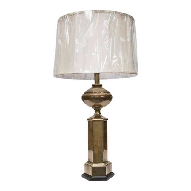Stately Pair of Hexagonal Brass Lamps For Sale