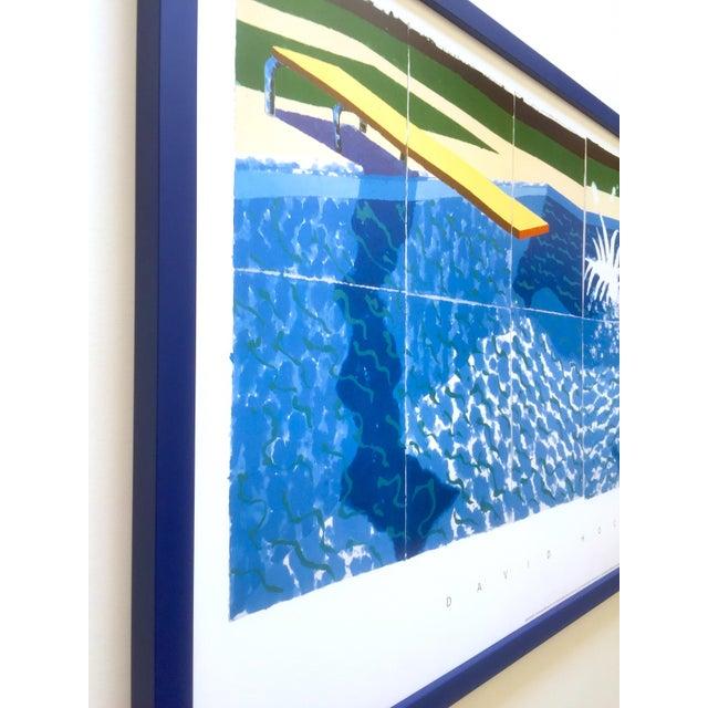 "Wood David Hockney Rare Vintage 1994 Iconic Lithograph Print Large Framed Poster "" Le Plongeur ( Paper Pool 18 ) "" 1978 For Sale - Image 7 of 13"