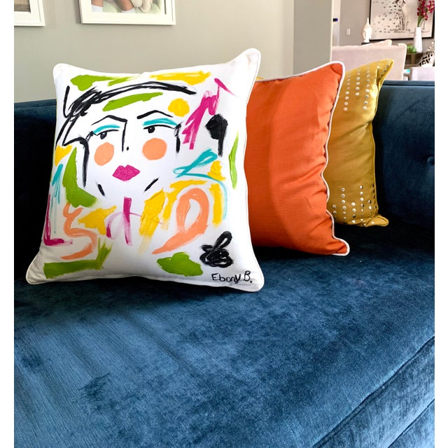 Abstract Face Painting Lela Pillow For Sale - Image 4 of 5