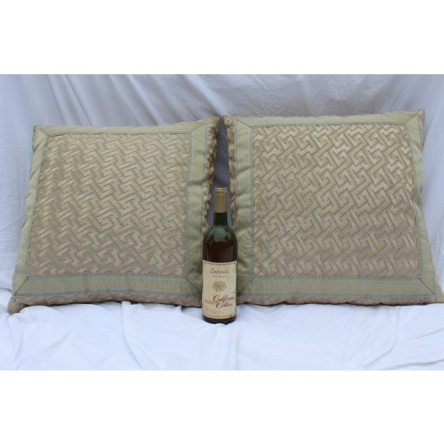 """Art Deco Silk """"Greek Key"""" Down Pillows in Beige/Taupe With Light Green Embroidered Trim - a Pair For Sale - Image 3 of 13"""
