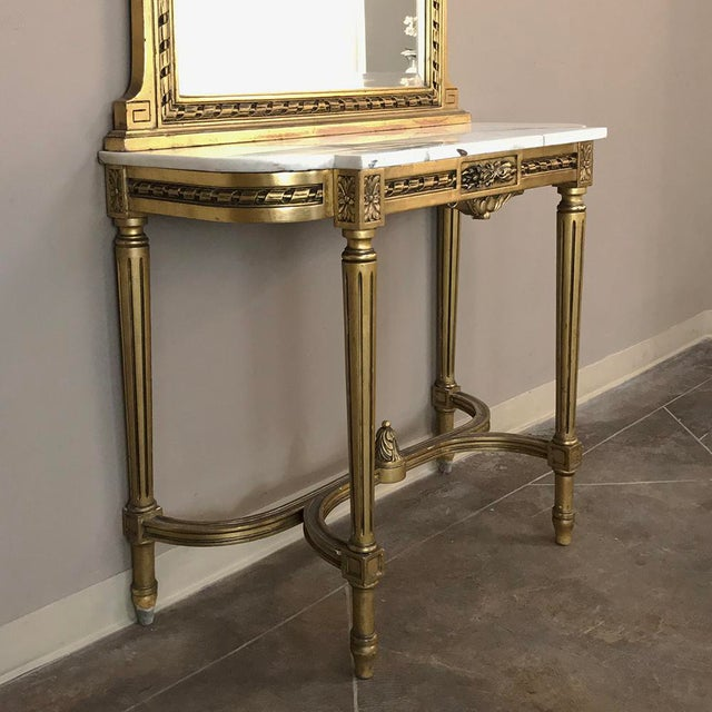 19th Century French Louis XVI Marble Top Giltwood Console With Mirror For Sale In Dallas - Image 6 of 12