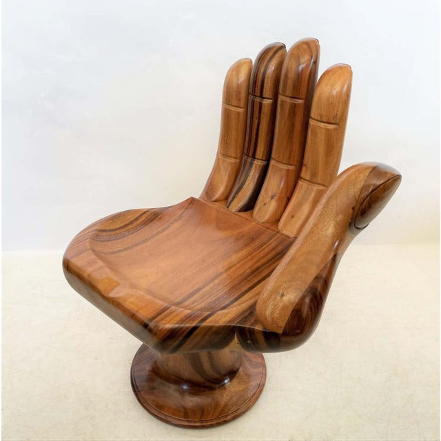 Wood Pedro Friedeberg Style Carved Hand Chair Sculpture For Sale - Image 7 of 8