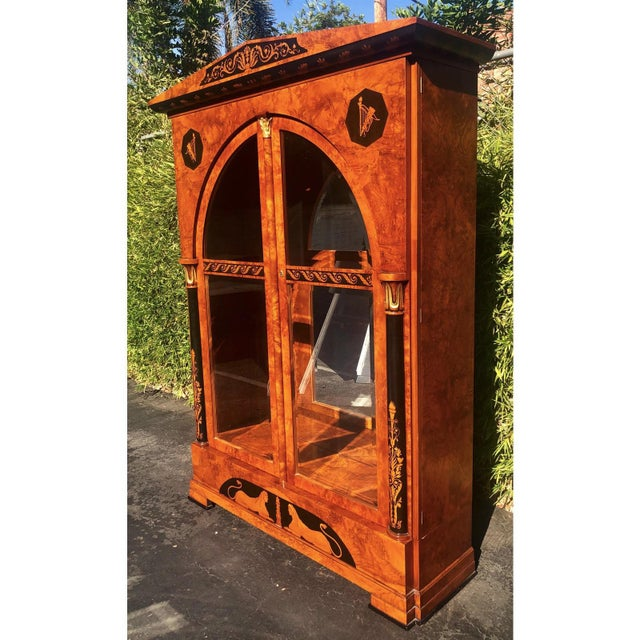 Versace Versace Style Giemme Italian Neoclassical Inlaid Breakfront China Display Cabinet For Sale - Image 4 of 7