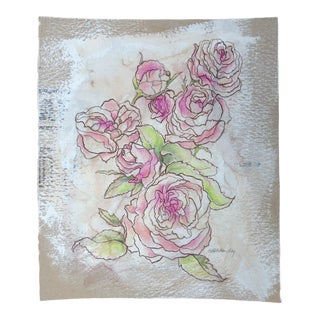 """Kathleen Ney """"Mound of Roses"""" Original Mixed Media Drawing For Sale"""