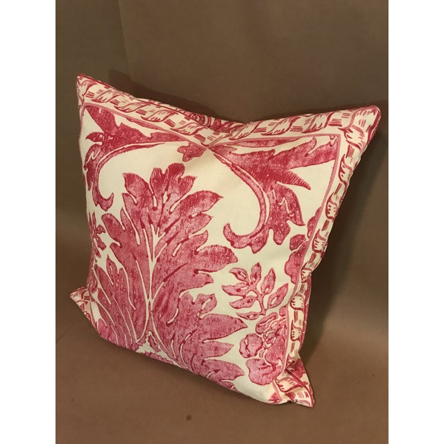 """Rococo Pillow From Scalamandre Linen Print """"Luciana Damask"""" in Raspberry For Sale In Raleigh - Image 6 of 6"""
