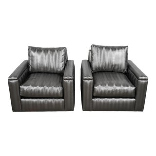 Electric Silver Charcoal Armchairs- A Pair For Sale