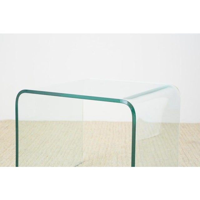 Late 20th Century Pair of Angelo Cortesi Glass Waterfall Nesting Drink Tables For Sale - Image 5 of 13