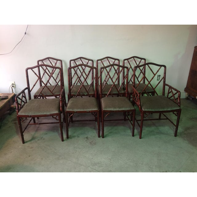 1960s Vintage Rosewood Chinese Chippendale Style Faux Bamboo Dining Chairs- Set of 8 For Sale - Image 13 of 13