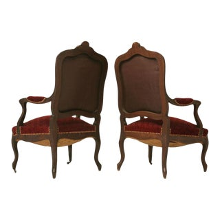 Carved Antique French Louis XV Walnut Fauteuils - A Pair