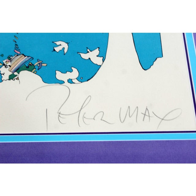 Mid-Century Modern Framed Peter Max Signed Lithograph Winters Dream 87/300 For Sale In Detroit - Image 6 of 7