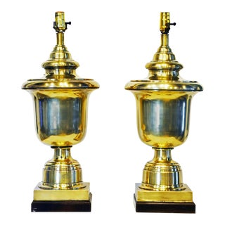 Neoclassical Solid Brass Urn Table Lamps by Frederick Cooper Co. - a Pair For Sale