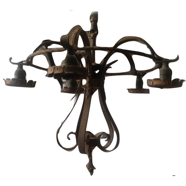 Gothic Vintage Gothic Revival Black Metal Chandelier For Sale - Image 3 of 11